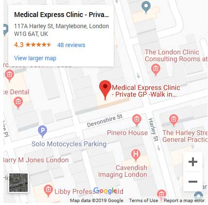 Medical Express Clinic google map